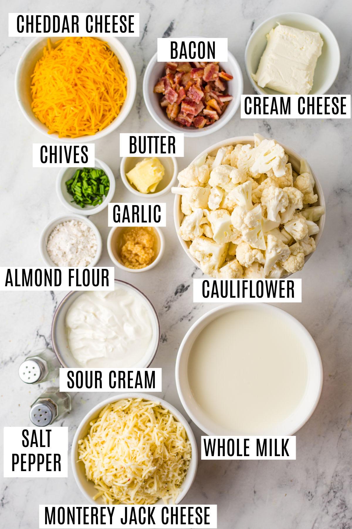 Ingredients needed to make loaded cauliflower casserole.
