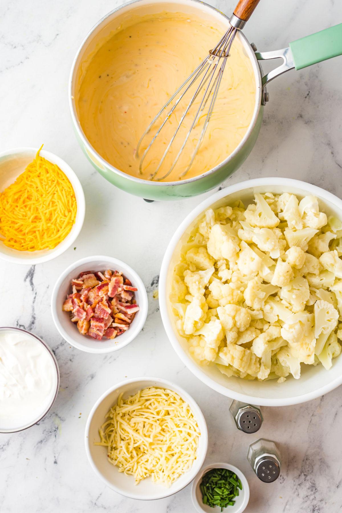 Cheese sauce prepared for cauliflower casserole.