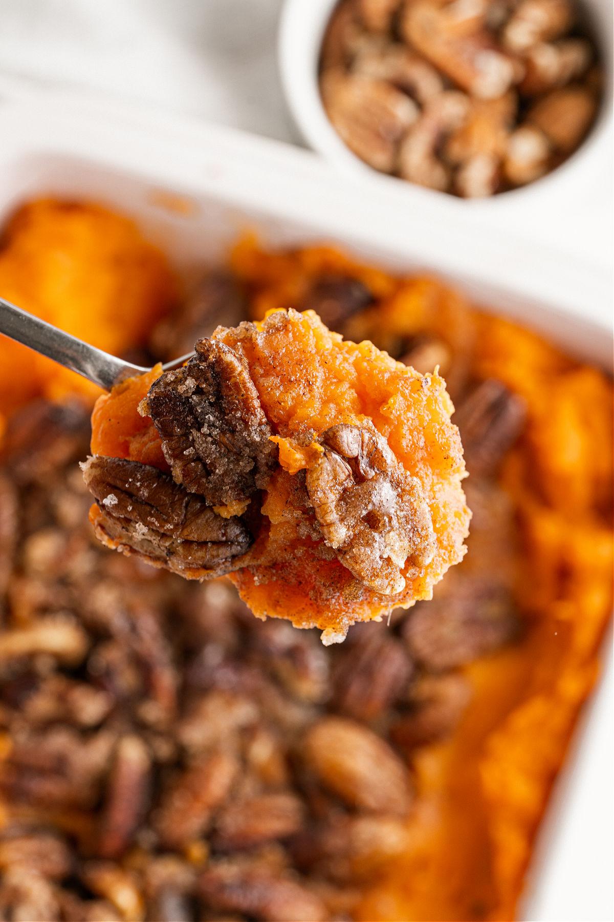Spoonful of sweet potato casserole.
