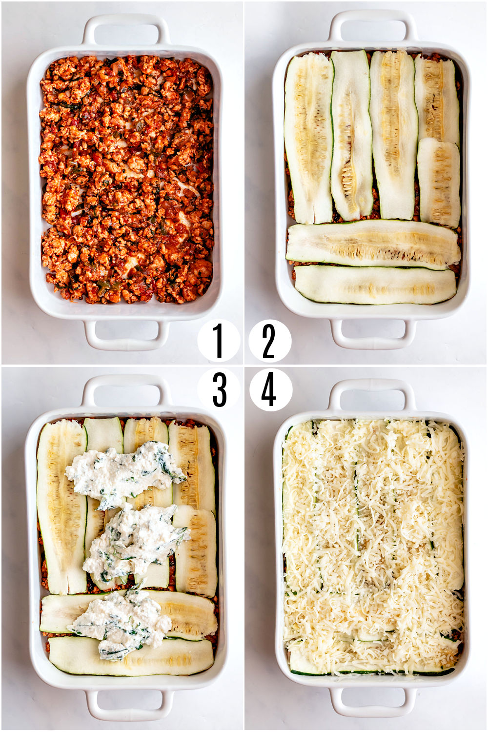 Step by step photos showing how to assemble zucchini lasagna.