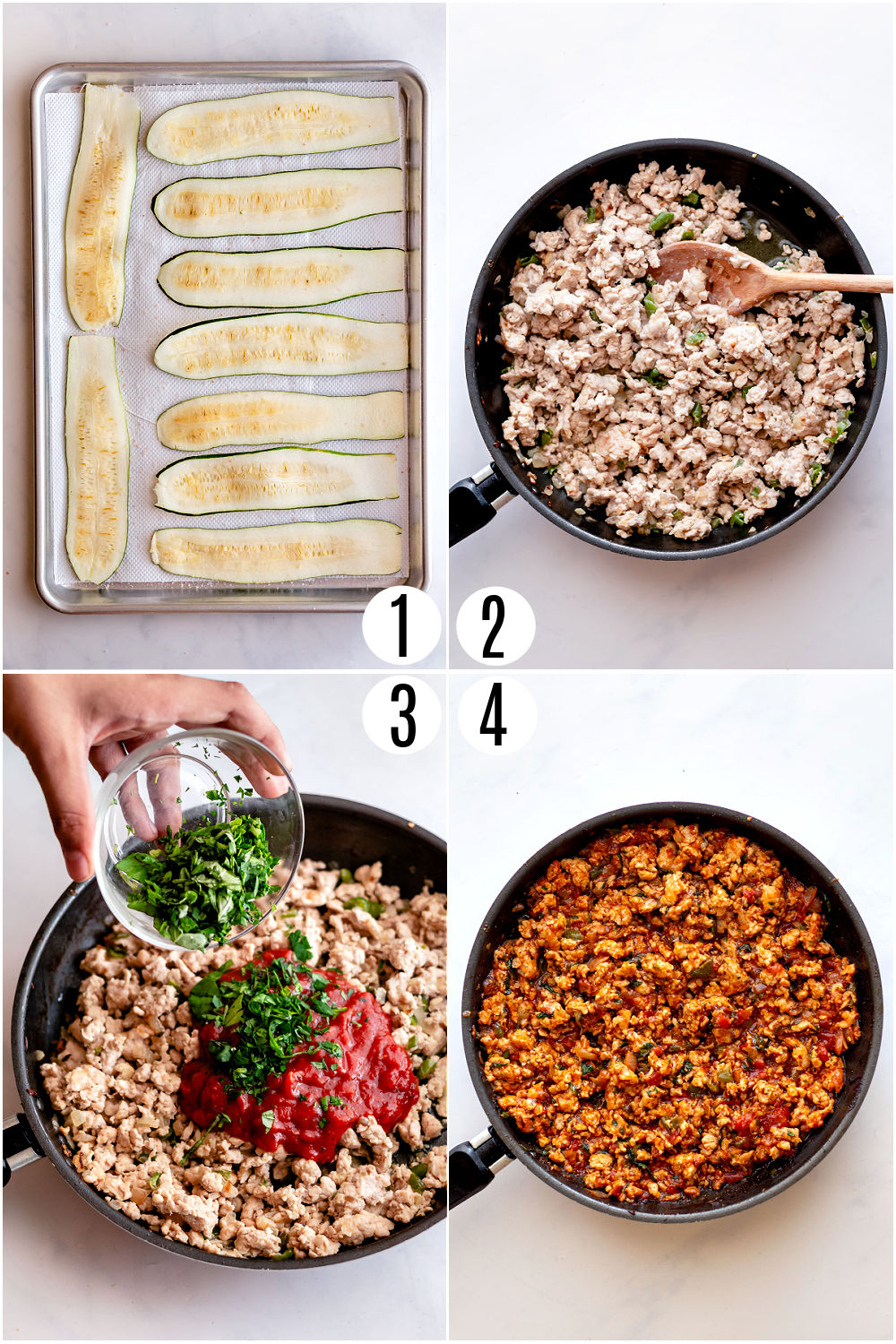 Step by step photos showing how to prepare zucchini lasagna.
