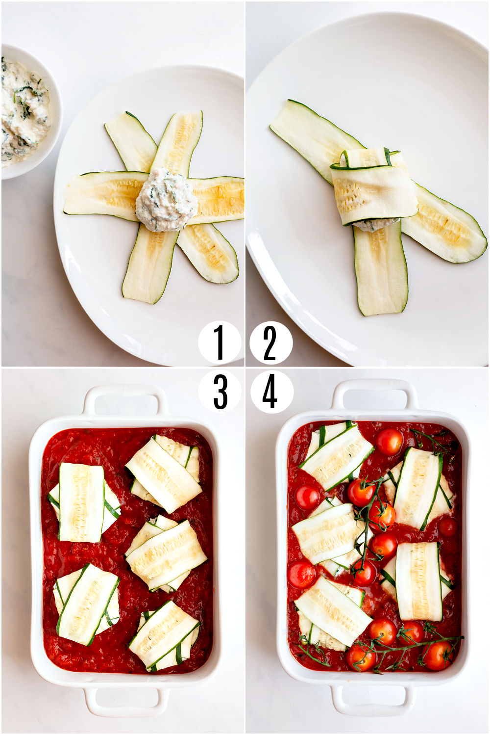 Step by step photos showing how to assemble zucchini rollups.