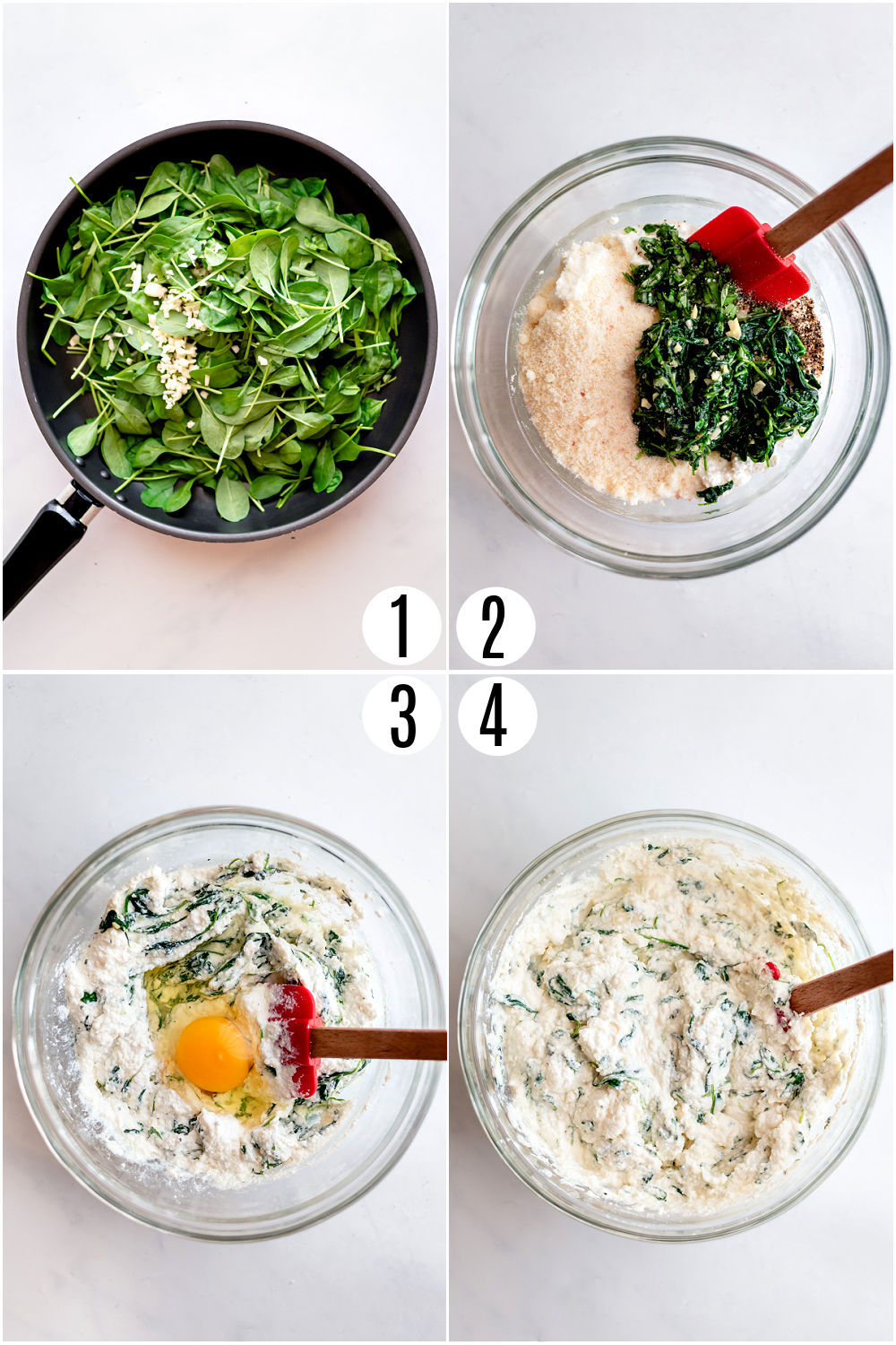 Step by step photos showing how to make ricotta filling for zucchini rollups.