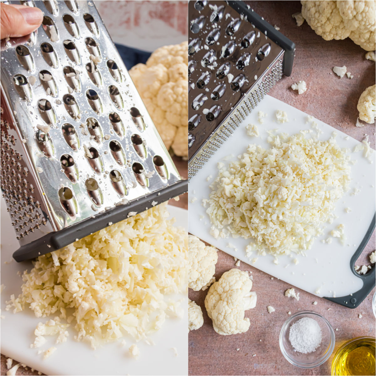How to make cauliflower rice with a box grater.