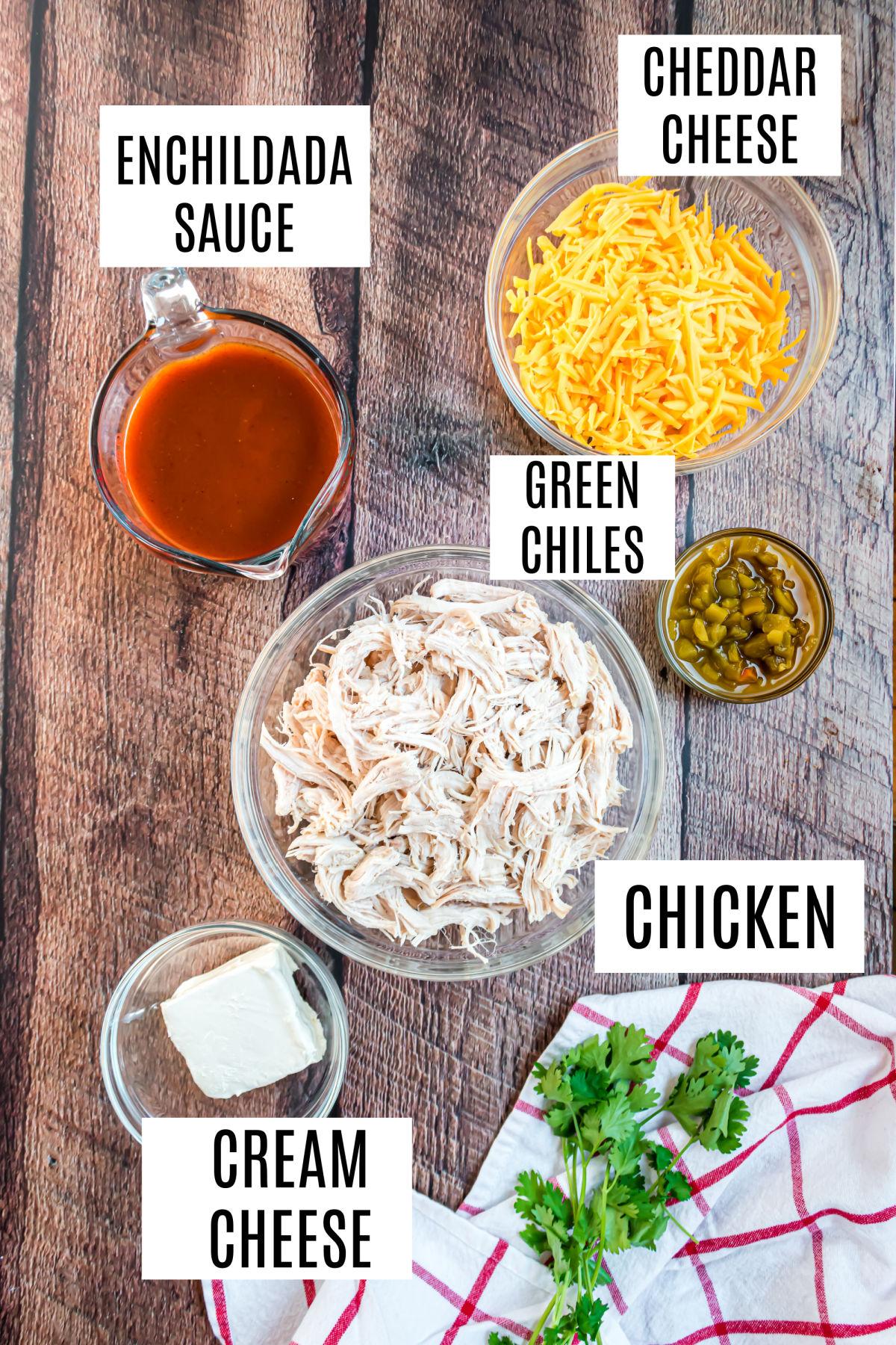 Ingredients needed to make chicken enchilada casserole recipe.