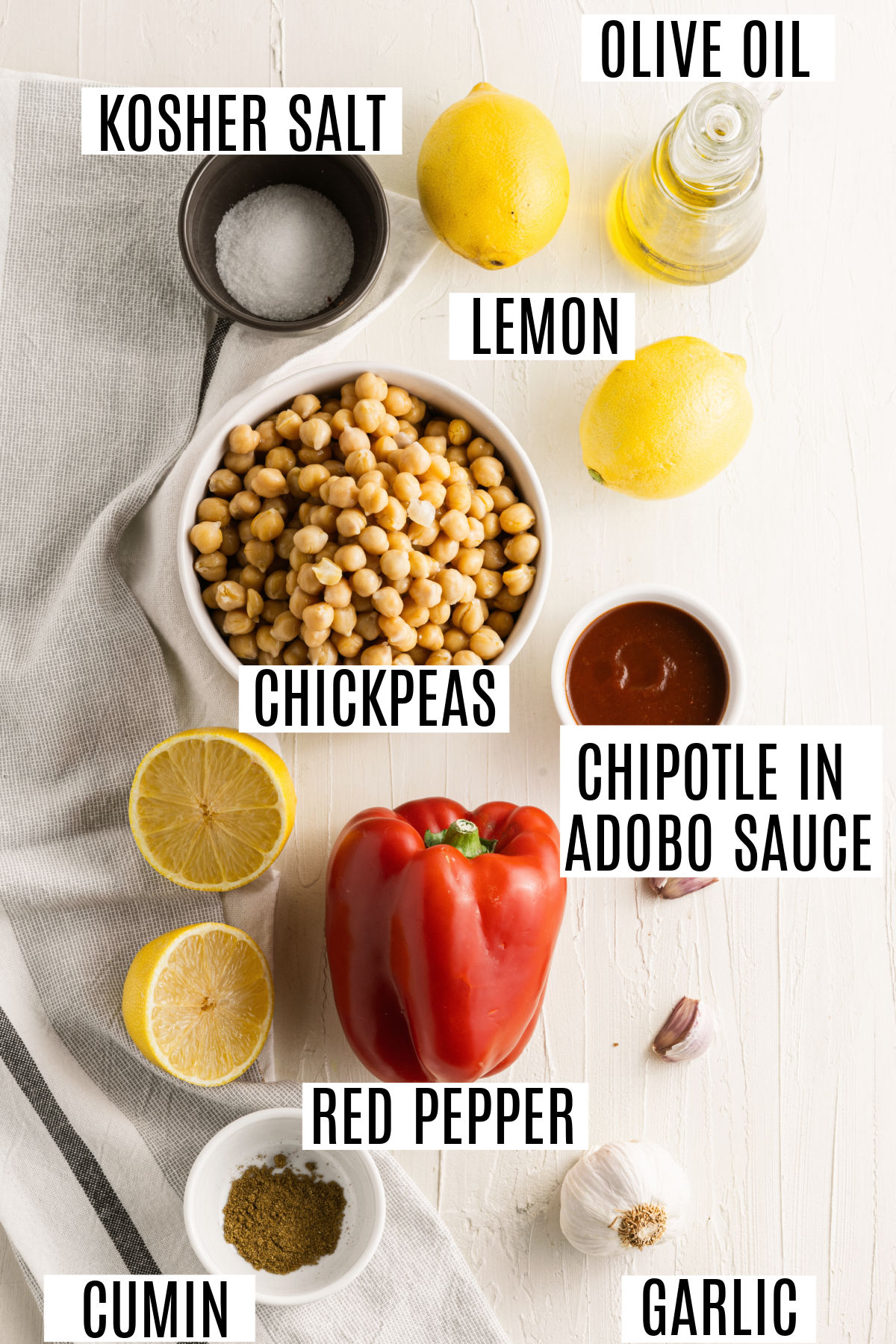 Ingredients needed for chipotle hummus recipe.