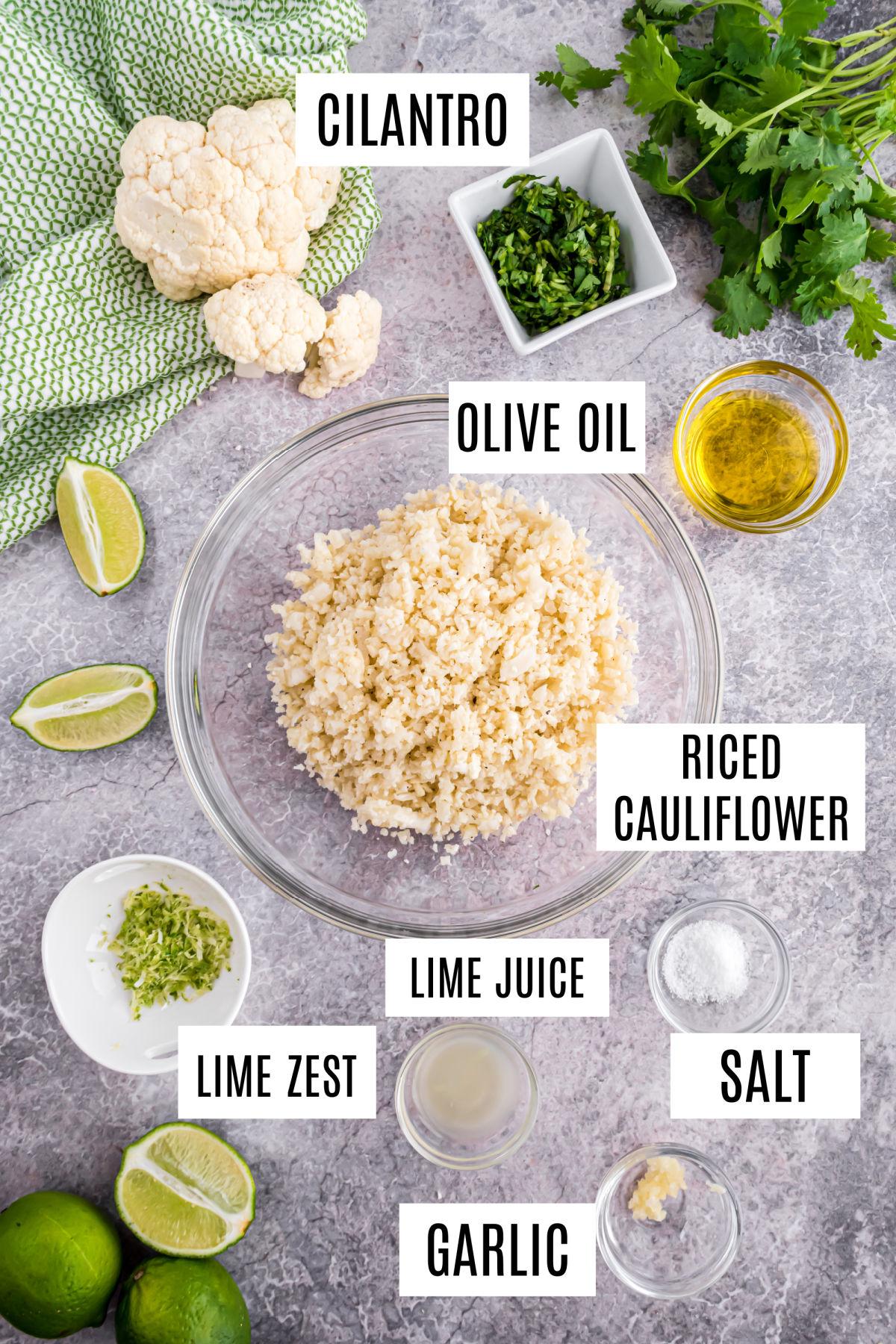 Cilantro lime cauliflower rice recipe ingredients.