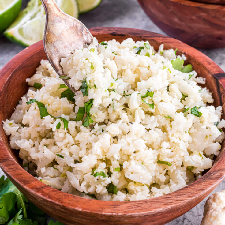 Elevate your cauliflower rice to new heights with this lightened up version of a restaurant favorite. Cilantro Lime Cauliflower Rice has a hint of tang and a pop of freshness, making it a delicious addition to any Mexican meal.