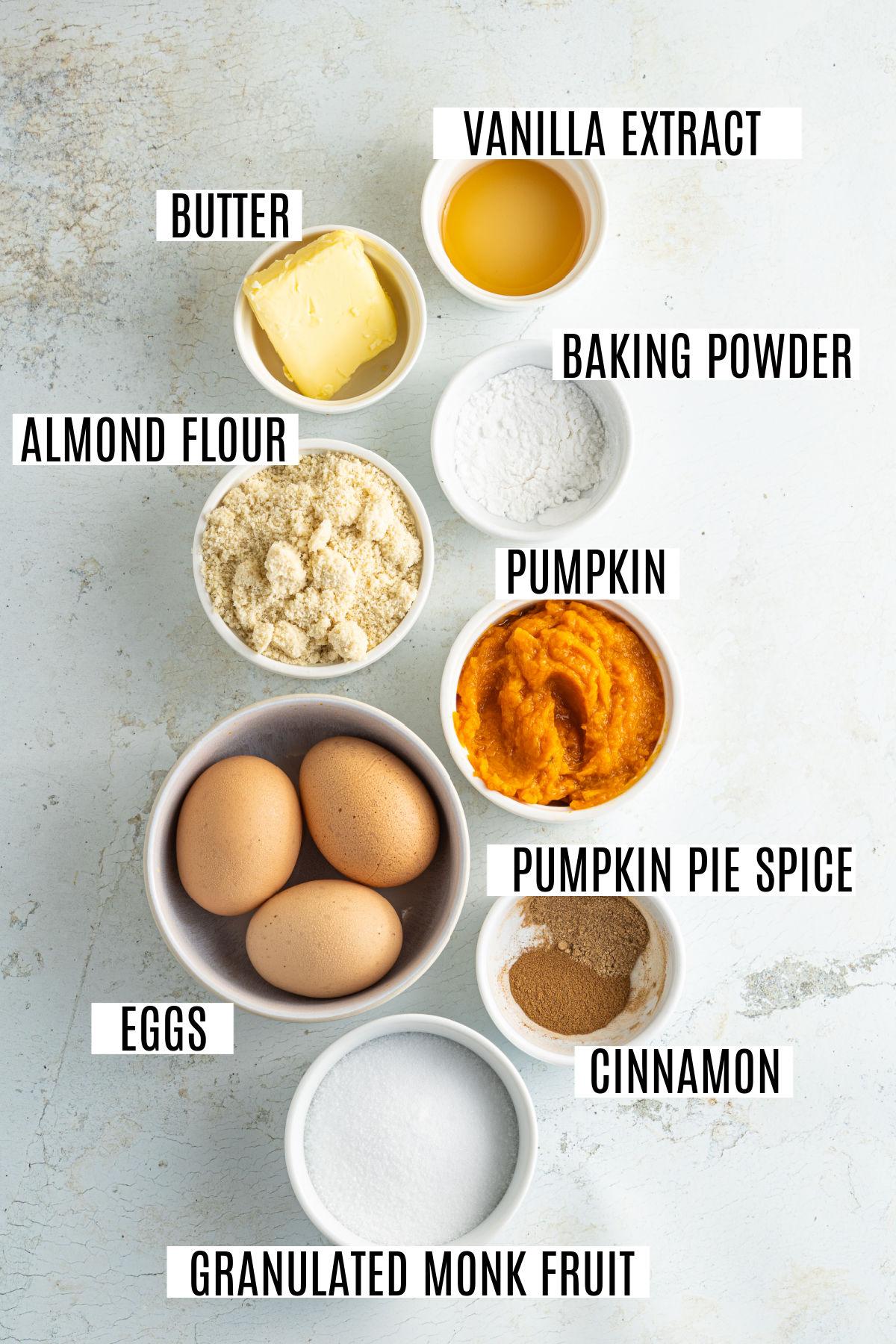 Ingredients for gluten free pumpkin muffin recipe.