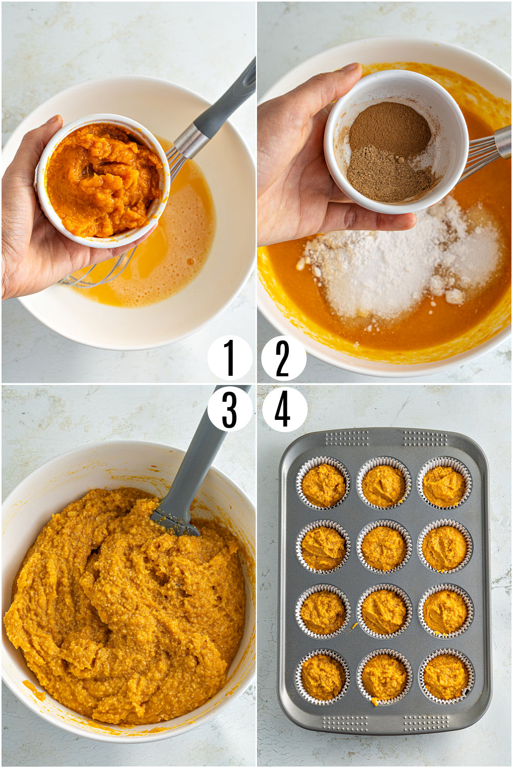 Step by step photos showing how to make pumpkin muffins.