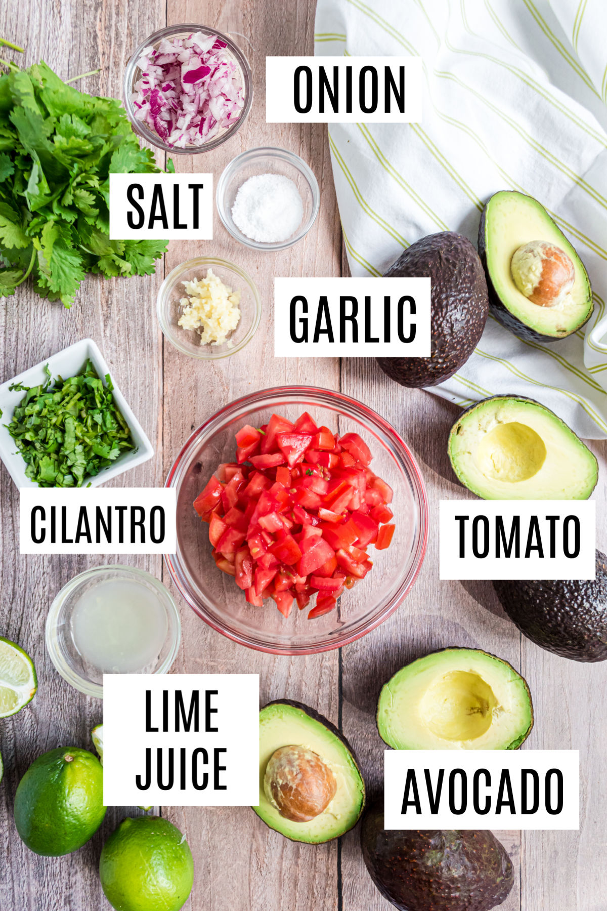 Ingredients needed for homemade guacamole recipe.