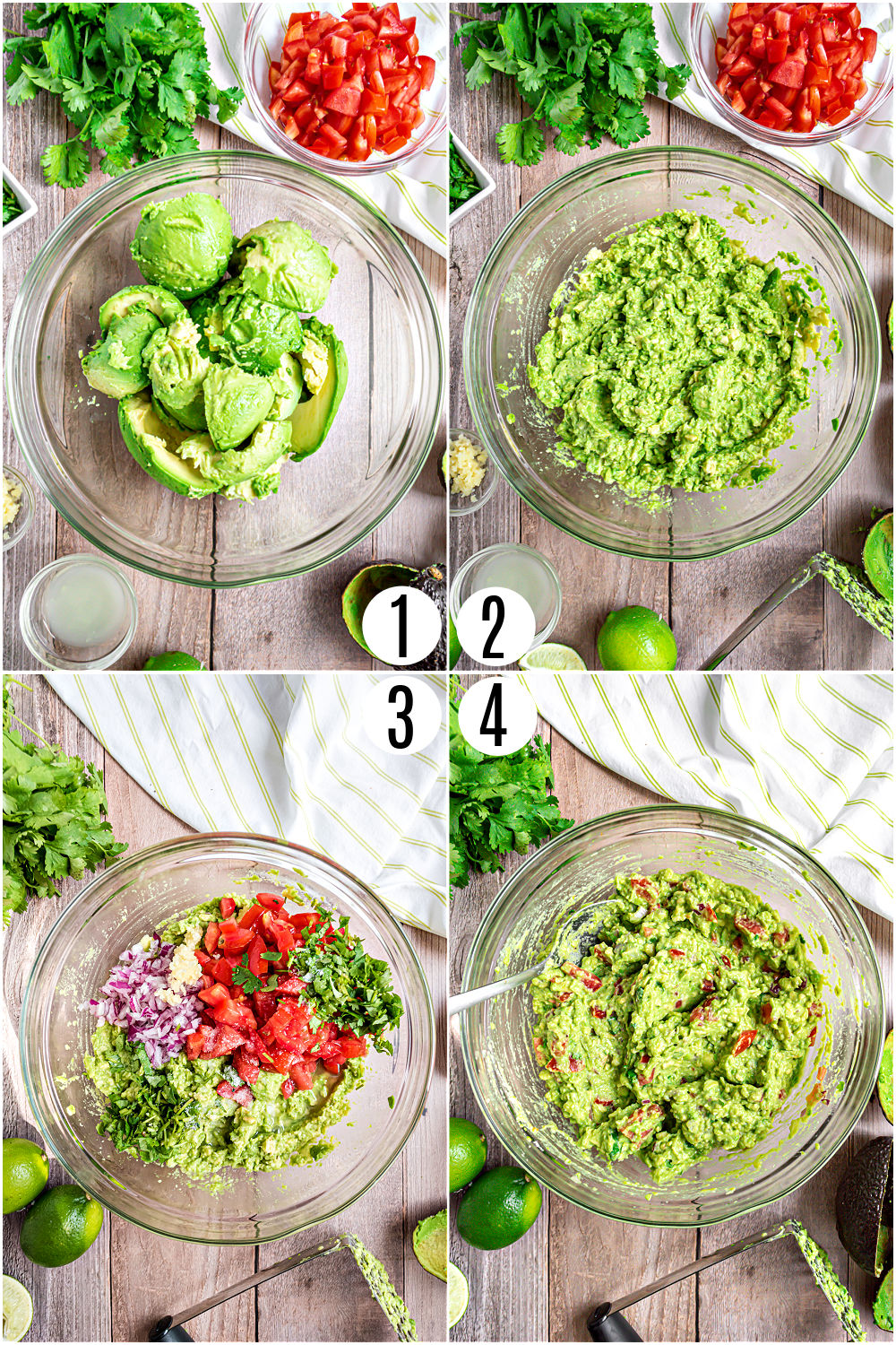 Step by step photos showing how to make chunky guacamole.