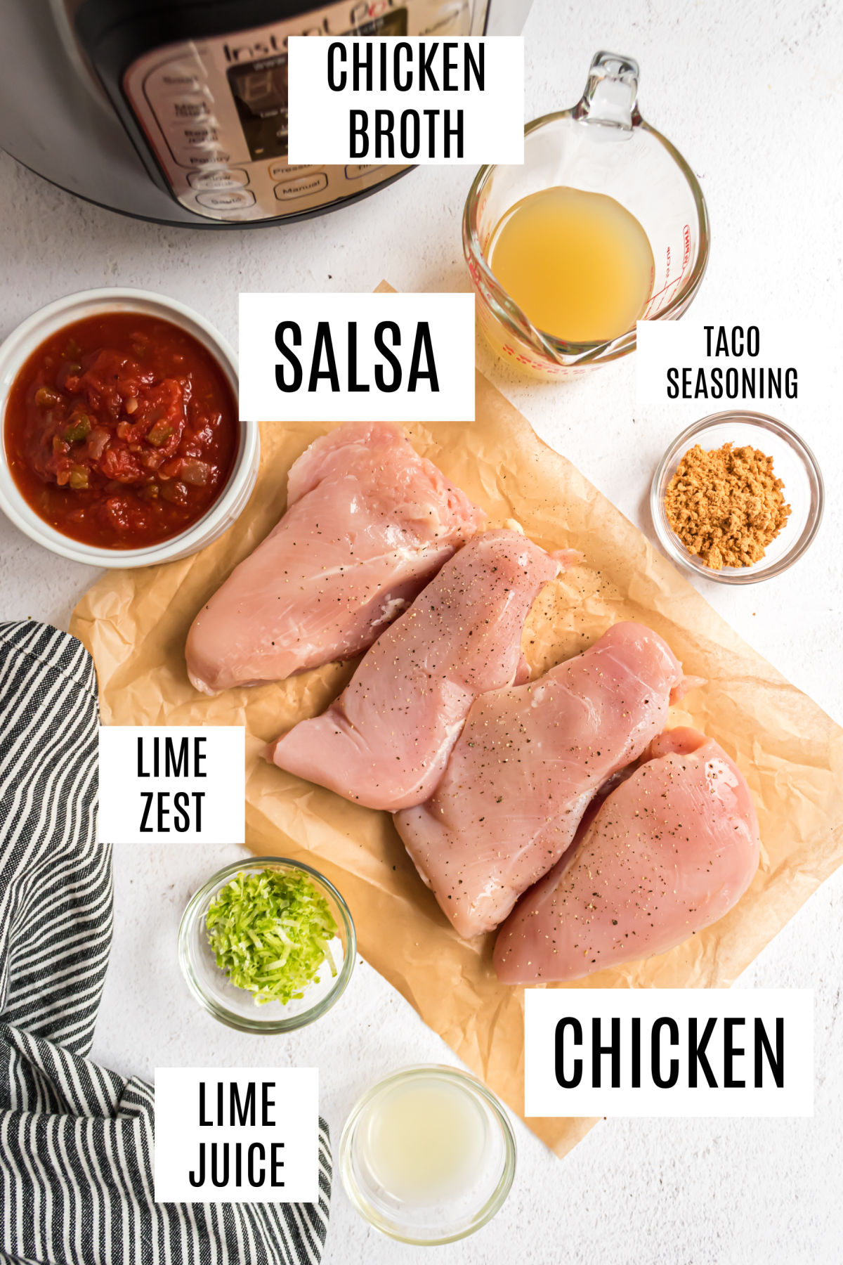 Ingredients needed to make chicken tacos in the Instant Pot.