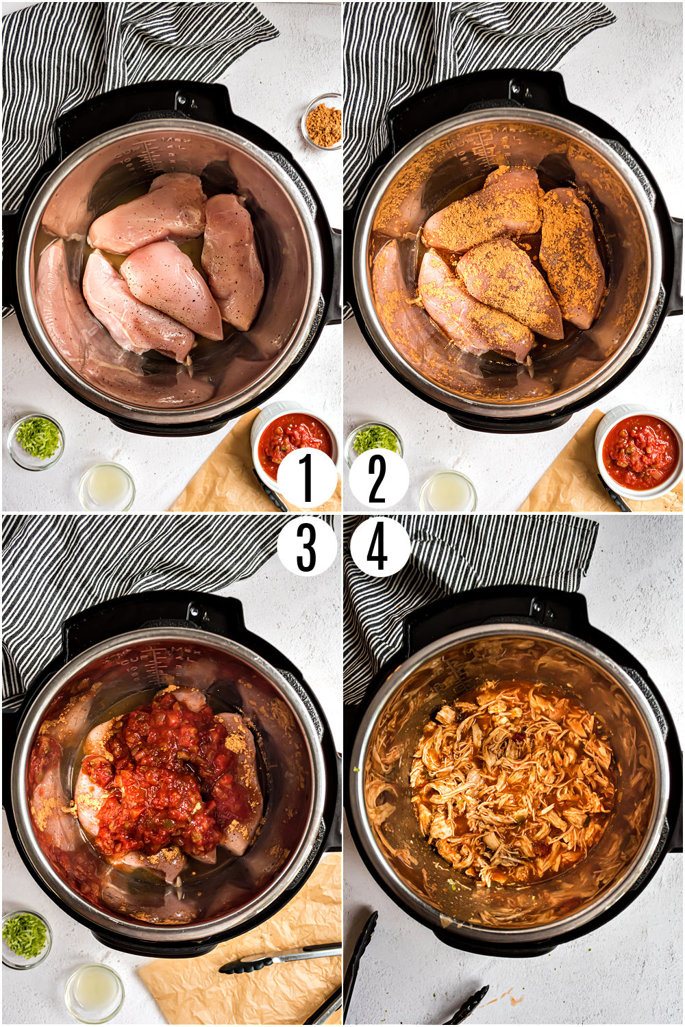 Step by step photos showing how to make chicken tacos in the instant pot.