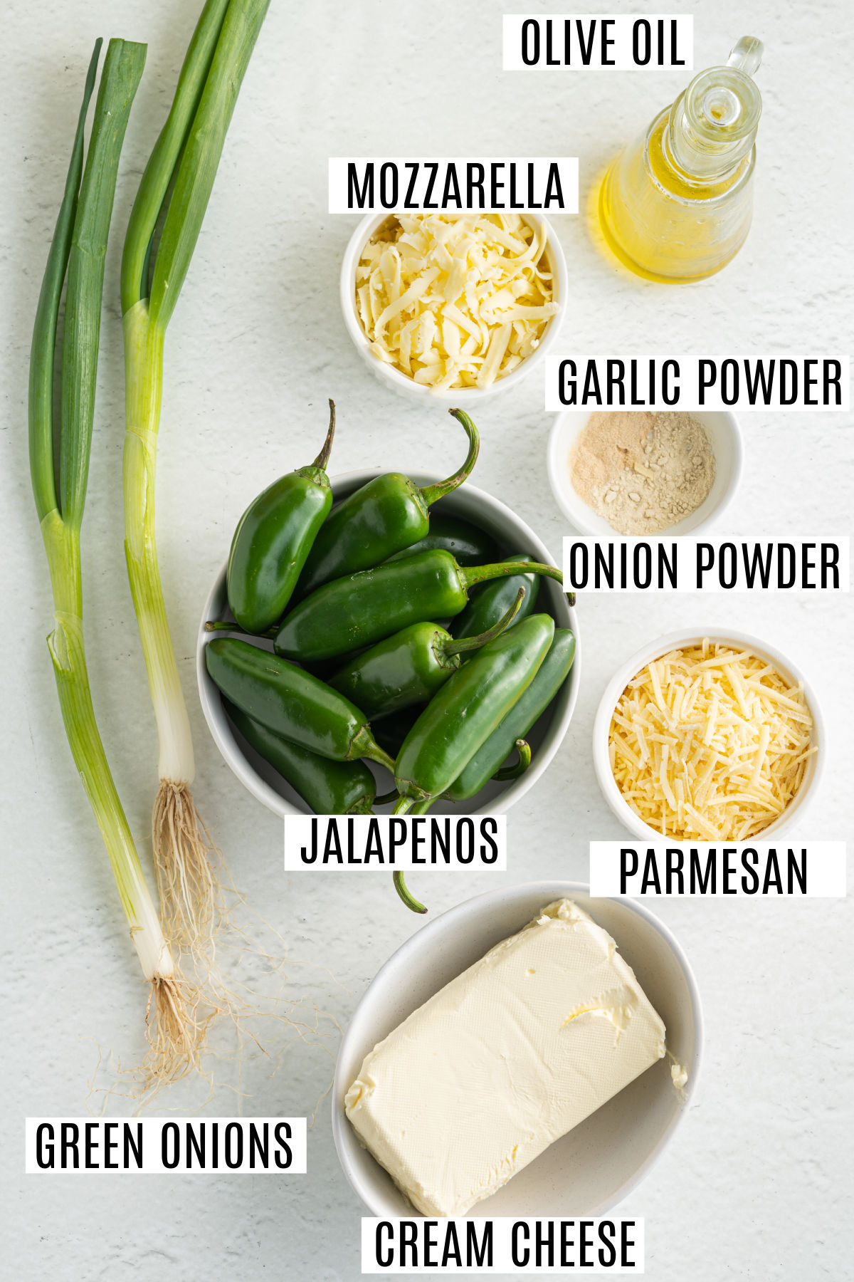 Ingredients needed to make baked jalapeno poppers.