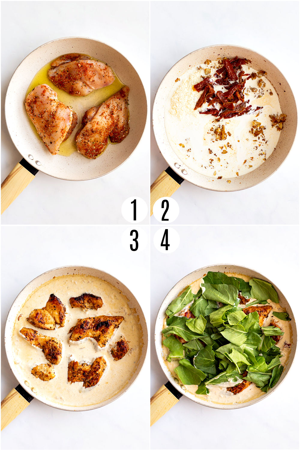 Step by step photos showing how to make creamy tuscan chicken.