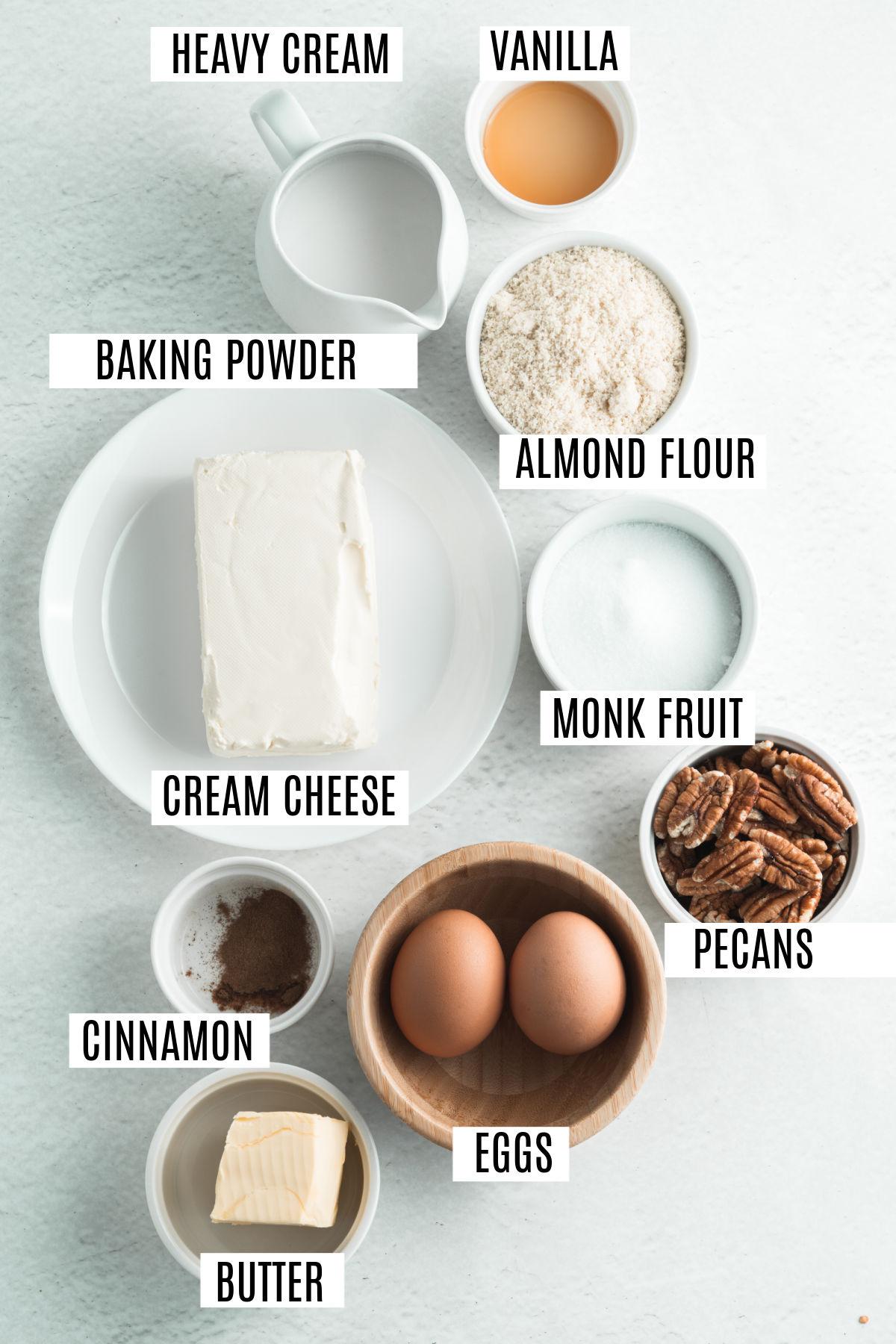 Ingredients needed to make sugar freem pecan pie cheesecake bars.