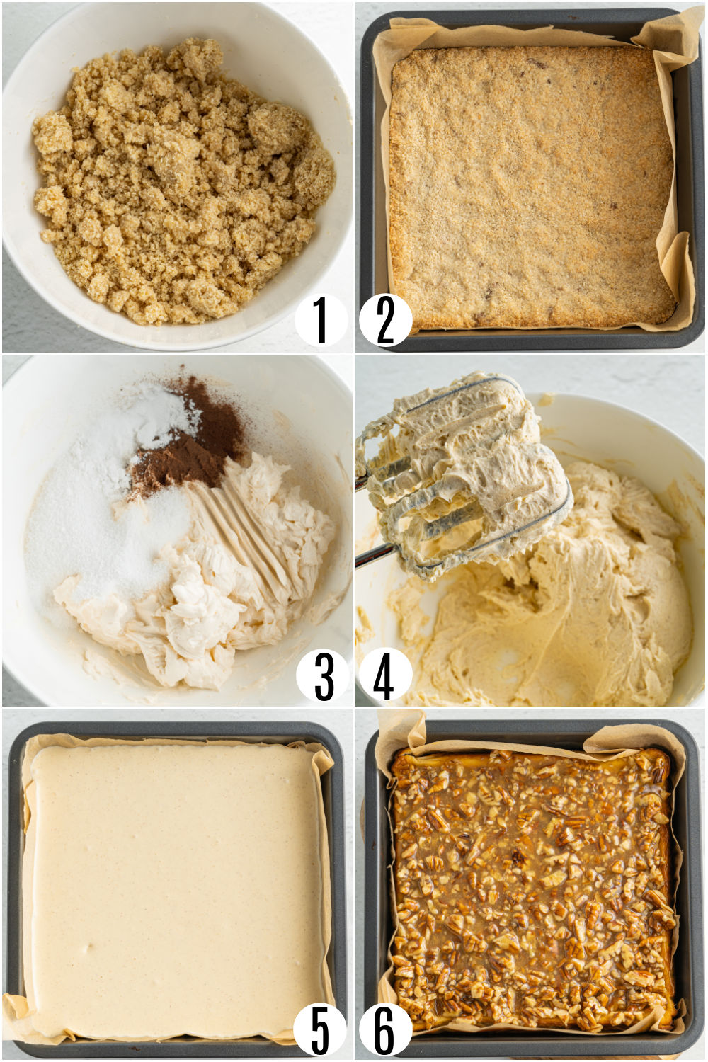 Step by step photos showing how to make pecan cheesecake bars.